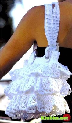 white crocheted bag