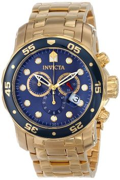 Invicta Men`s 0073 Pro Diver Collection Chronograph 18k Gold-Plated Watch $149.00 (save $446.00)