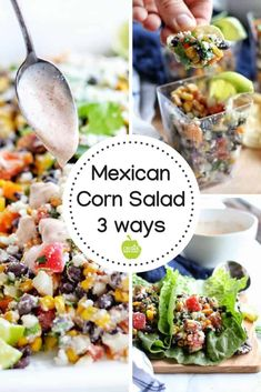 A simple & healthy version of Mexican Street Corn Salad that uses canned sweet corn that's roasted on the stove top. Save time & money w/ this yummy salad. Vegetarian Side Dishes, Vegetarian Recipes, Roasted Corn Salad, Appetizer Recipes, Dinner Recipes, Mexican Corn Salad, Corn Salads, Healthy Salad Recipes, Healthy Desserts