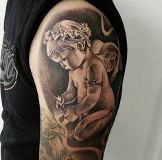 Girl Neck Tattoos, Tattoos Skull, Sleeve Tattoos, Hand Tattoos, Baby Angel Tattoo, Cherub Tattoo, Angel Tattoo Designs, Tattoos For Kids, Make Photo