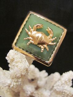 Green Crab Ring  Nautical Square Rings  Beach Jewelry by savannahjacks, $25.00