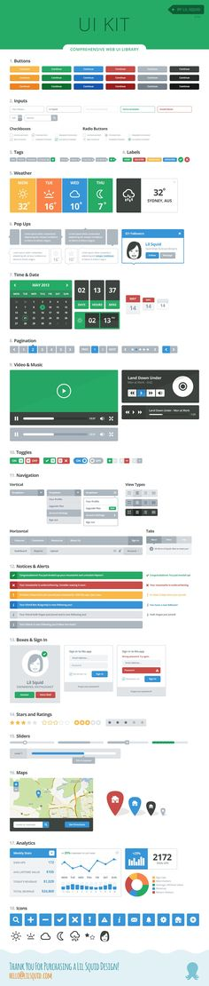 Lil UI Kit - PSD Vector UI Library by Lil Squid on @creativemarket