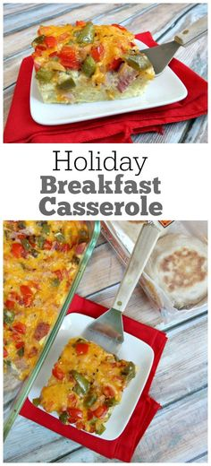 Holiday Breakfast Casserole - a festive looking holiday casserole to serve to guests during the holidays. with a secret ingredient! This holiday breakfast casserole is both festive- looking and delicious! Delicious Breakfast Recipes, Fun Easy Recipes, Popular Recipes, New Recipes, Holiday Recipes, Easy Meals, Favorite Recipes, Amazing Recipes, Yummy Recipes