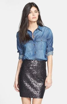 Street style | Denim shirt, sequins skirt