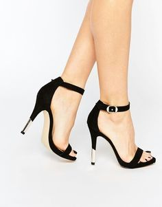 Black strap heels with gold hardware | ASOS