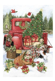 Christmas Red Truck, Cowboy Christmas, Christmas Scenes, Primitive Christmas, Country Christmas, Christmas Pictures, Christmas Art, Vintage Christmas, Christmas Decorations