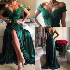Green Sexy Long Evening Dresses Lace Elegant Formal Prom Party Gowns Custom Made (eBay Link)