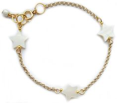 ★ Shell stars ★ shell stars, gold plated, handmade, unique, bracelet, accessories, jewelry, stars