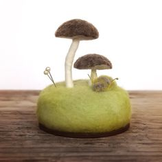 Pincushion Brown Umbrella Mushrooms Nature Scene Home Decor Wool Sculpture Made To Order on Etsy, $27.57 CAD