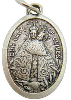 """MRT Our Lady Of Olives Catholic St Mary Madonna Medal Silver Plate 3/4"""" Italian Catholic Saints, Our Lady, Olives, Madonna, Pocket Watch, Silver Plate, Mary, Accessories, Silverware Tray"""