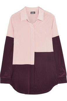 DKNY Color-block stretch-silk shirt  | NET-A-PORTER