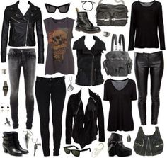 Black skinnies/ pants. Black screen tees. Clack sweates. Black jackets. Black boots. Black shoes