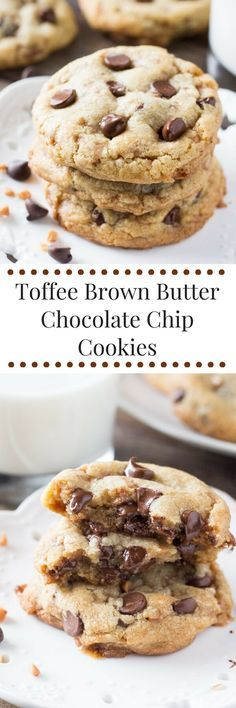 Soft and chewy, packed with flavor, and loaded with toffee bits & dark chocolate. These Toffee Brown Butter Chocolate Chip cookies are the ULTIMATE bakery-style cookie