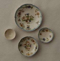 Dollhouse-Miniature-Artisan-Teresa-Welch-China-Plate-Bowl-Cup-Set-Quimper-91