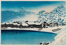 Kawase Hasui, Snow at the Port of Ogi on Sado Island (1921)