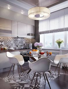 22 Remarkable White Chairs in Condominium Dining Areas White Dining Set, Dinning Set, White Dining Chairs, Glass Dining Table, Condominium Interior, Condo Interior, Kitchen Interior, Kitchen Decor, Kitchen Design