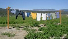 clothesline above bare dirt