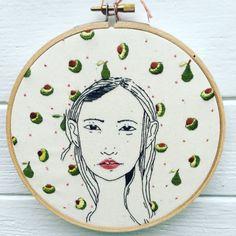Hoop Art Fiber Art Embroidered Wall Art Avocado by OddAnaStitch