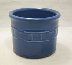 Made in the USA! Longaberger Pottery crock - 1 Pint. Woven Traditions in Cornflower. Great for snacks, condiments, dips, candle. #LongabergerPottery #MadeInTheUSA #Ebay #UnderTheRoofTreasures #Cornflower