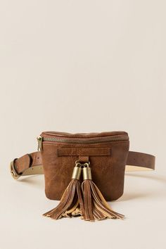 Mandy Double Tassel Belt Bag- Cognac