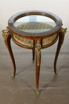 """19th c. French Luis XIV Mahogany & Bronze """"Lift Top"""" Bouillotte Round Vitrine Table by PasadenaAntiques on Etsy https://www.etsy.com/listing/254019370/19th-c-french-luis-xiv-mahogany-bronze"""