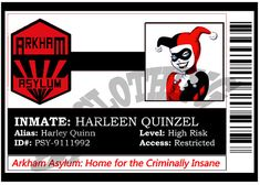 This item is unavailable Harley Quinn Cosplay, Joker And Harley Quinn, Shirt Clips, Monster Under The Bed, Evil Twin, Arkham Asylum, Name Badges, Comic Book Characters, Gotham City