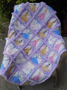 Disney's Princesses in large squares on this rag by WillowTreeWay, $50.00