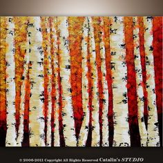 Abstract Modern Painting Landscape Birch Trees Art by by Catalin
