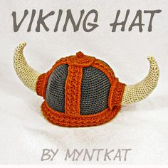 This is a pattern for a viking hat / helmet, crocheted from medium 4 sized yarn. The pattern is written, with abbreviations and 80 colorful photos to Viking Hat Crochet Pattern, Crochet Patterns, Hat Patterns, Crochet Designs, Crochet Ideas, Stitch Patterns, Crochet Hook Sizes, Crochet Hooks, Vikings