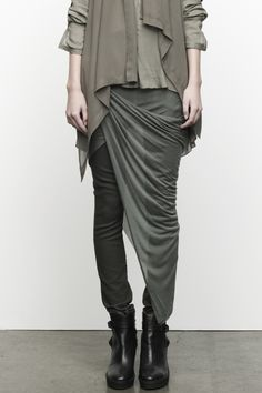 Helmut Lang. I love this look and did something similar to this in the mid 80s when I lived in L.A.A scarf wrapped at the waist like that. Would love to relive it.