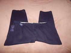NWT Polo Ralph Lauren pants plus size 56BX30 pleated front 100% cotton dark blue #PoloRalphLauren #DressPleat