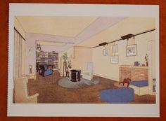 Vintage ansicht kaart van een illustratie uit 'Art deco, ontstaan, ontwikkeling en opleving van deze decoratieve stijl' uitgegeven door Atrium, Alphen aan den Rijn. Studio-appartement ontworpen door Pierre Chareau, 1929
