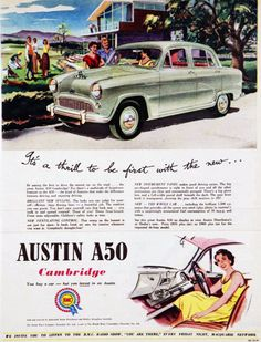It's a thrill to be first with a new Austin A50 Cabridge. 1955.    Love the bench-seat in these.