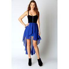 Matilda Contrast Skirt Chiffon Mixi Dress ($40) ❤ liked on Polyvore
