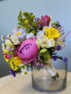 Pod Shop Flowers Wedding Designs | spring in full bloom bouquet with peonies, freesia, daffodils, and irises!