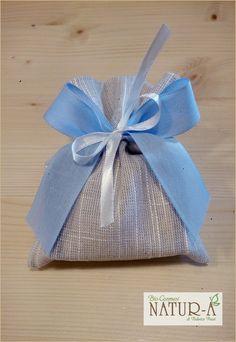 Sacchetto bomboniera beige per saponetta, fiocco bianco e azzurro 🎀 per maschietto❤