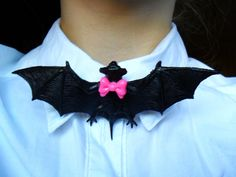 Creepy Cute Spooky Halloween Bowtie Bat Collar Pin Badge. £3.50, via Etsy.
