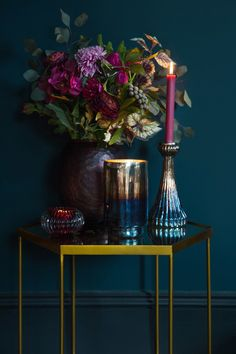 Love the mix of golds, brass, blue and purples in this scene. The gold hexagonal side table would look great at the end of a sofa, and the rich, deep colours are ideal for autumn and winter living rooms. Cant get enough of this new colour palette Home Interior Design, Interior Styling, Interior Decorating, Decorating Games, Diy Interior Design Living Room, Estilo Interior, Nordic Interior, Interior Modern, Winter Living Room