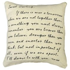 """Sugarboo Designs """"Sweet Darling"""" pillow is a playful mix of style, comfort, and beauty. Features a removable stonewashed linen cover and down feather insert. 24x24. Made in USA"""