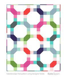 Serenade free pattern by Kate Spain, this version using Bella Designer Solids FQs. 57x69