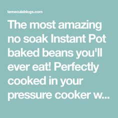 The most amazing no soak Instant Pot baked beans you'll ever eat! Perfectly cooked in your pressure cooker with no pre soaking required. Sweet with a kick! Instant Pot Pressure Cooker, Pressure Cooking, Baked Beans, Home Recipes, Cooker Recipes, Meal Planning, Nom Nom, Homemade, Food And Drink