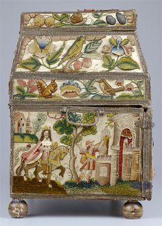 Embroidered casket with the scenes from the Old Testament story of Queen Esther, made in England, 1662. Left side view.