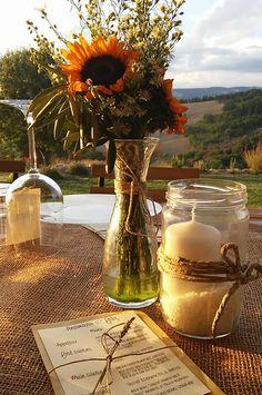wedding centerpiece, mason jars, burlap and twine