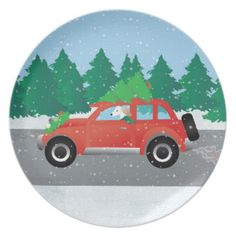 Saluki Driving Christmas Car with Tree on Top Plates
