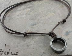 Sol - Leather Cord Mens Surfer Necklace w/ Pewter Ring