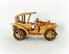 Vintage Wood Carved Model Toy Car 1920s Jalopy at PaddywhackKnickKnack, $20.00