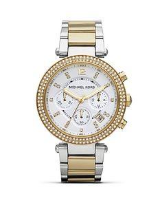 Michael Kors Two-Tone Parker Glitz Bracelet Watch, 39mm | Bloomingdale's
