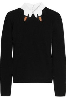 REDValentino Swan-collar stretch-knit sweater | NET-A-PORTER