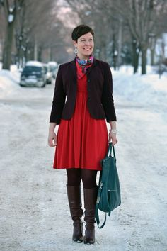 Dressed for: Fellowship -- I'd go with a different color purse, but this looks well put-together and also comfortable.