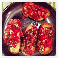 Bruschette#pane#altamura#pomodori#aglio#olio#basilico#food